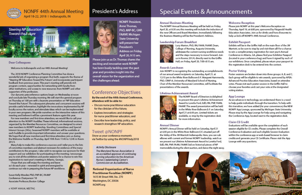 National Organization of Nurse Practitioner Faculties conference program spread 2018