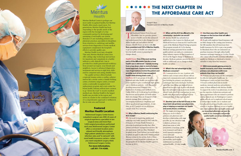 Meritus Health -Health Focus Magazine inside spread