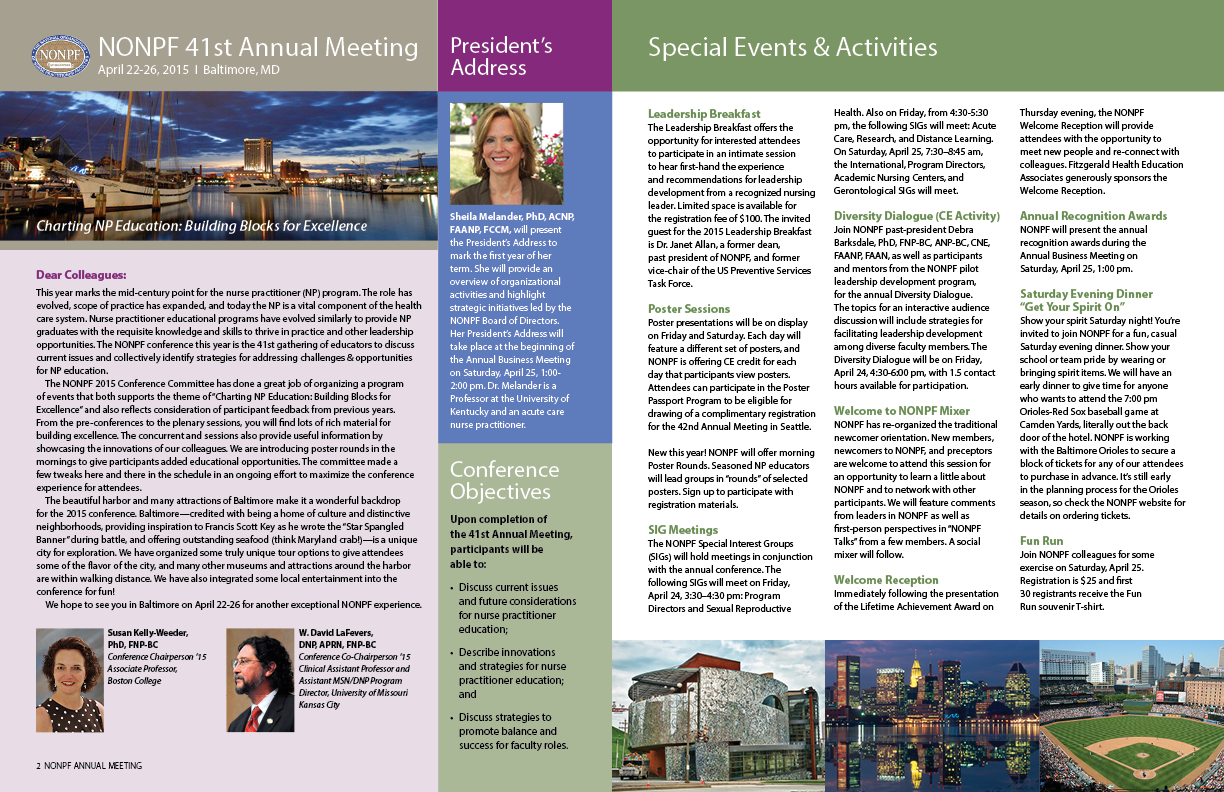 National Organization of Nurse Practitioner Faculties conference program interior