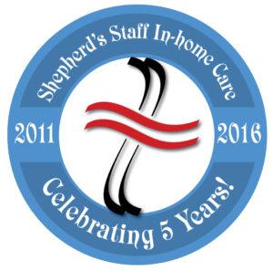 Shepherd's Staff 5 year celebration badge