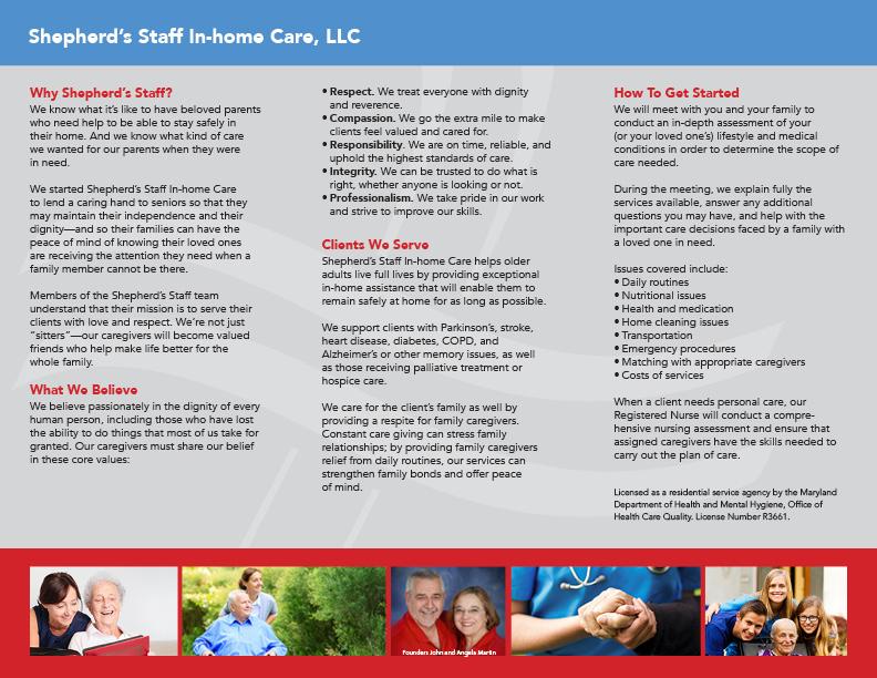 Shepherd's Staff informational brochure interior